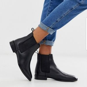 ASOS Leather Chelsea Black Womens Ankle Boots